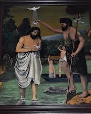 Baptême de jésus peinture (v1) huile sur toile, donne joky kamo.