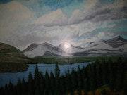 Paysage montagne peinture originale, signe joky kamo.