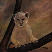 Animal lion painting of baby lion, by joky kamo.