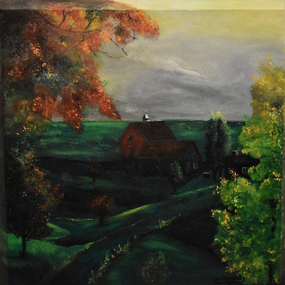 Landscape spring painting, original signed by joky kamo. Joky Kamo Joky Kamo