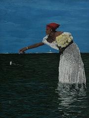 Mariée jette fleur à la mer peinture, signée joky kamo.
