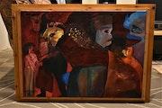 L'homme taureau abstraite peinture, 2005 originale signe joky kamo.