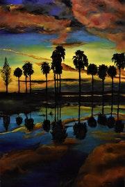 Paysage aux Palmiers peinture paysage, par joky Kamo.