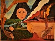 Abstraite symbole assyriens peinture, par Joky kamo.