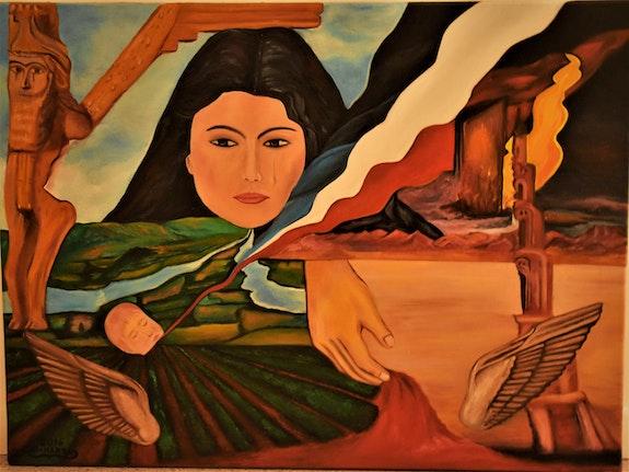 Abstraite symbole assyriens peinture, par Joky kamo. Joky Kamo Joky Kamo