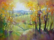 November Glowing is a large oil on canvas painting of a glowing autumn Sussex la.