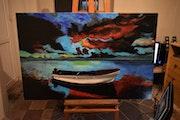 Paysage Kayak Peinture, signée Joky Kamo.