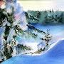 Le soleil descend sur le Lac de la Montagne au Québec. Adyne Gohy