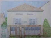 Aquarelle originale d'Auvers sur Oise - Auberge Ravoux.