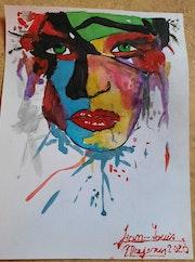 Portrait aquarelle abstrait. Jean-Louis Majerus