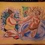 Aquarelle représentation que j'ai faite d'un peintre célèbre. Jean-Louis Majerus