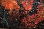 Guitariste Michael Angelo Batio Peinture à l'huile sur toile par Joky kamo.