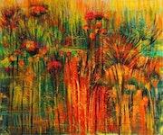 Orange Painting Abstract Modern Art Original Painting Landscape Art Canvas. Likart