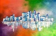Peinture paysage urbain abstrait acrylique déco Sentysia. Florence Féraud-Aiglin