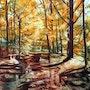 Lumière d'automne d'après une photo de Michel Guillet. Adyne Gohy