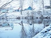 Le miroir d'eau et la maison bleue. Emilie Solier
