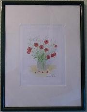 Aquarelle originale - Coquelicots - signé de l'artiste - Encadrée.