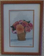 Aquarelle originale - Bouquet de fleurs 1 - signée de l'artiste -Encadrée.