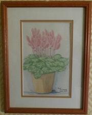 Aquarelle originale - Bouquet de fleurs 2 - signée de l'artiste -Encadrée.