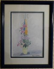 Aquarelle originale - Bouquet de fleurs 3 - signée de l'artiste -Encadrée.