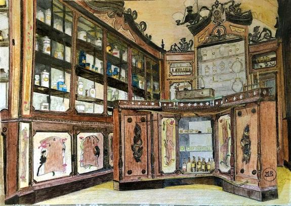 Pharmacie style art nouveau. Pierre Bayet Πr Dessins