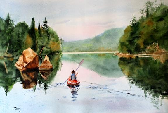 Cayac sur le lac de la Montagne (Québec). A Dyne Gohy Adyne Gohy