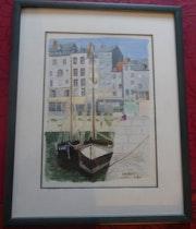 Aquarelle originale - Honfleur - signée du peintre - encadrée.