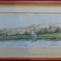 Aquarelle originale - Village Nubien - signée du peintre - encadrée. Mauguil