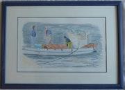 Aquarelle originale - Retour de pêche - signée du peintre - encadrée.