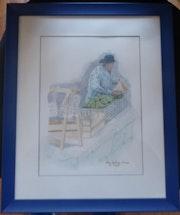 Aquarelle originale - Au marché - signée du peintre - encadrée.