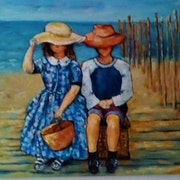 Deux enfants sur la plage. Mioara Gaubert