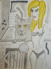 Die blondine und die katze.