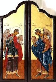 SuiteTriptyque sur bois (support réalisé par moi-même) de la Pentecôte (Fermé). Jean-Claude Geslain