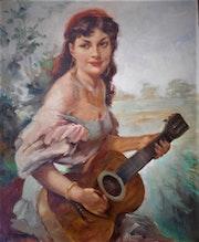 Gitane à la guitare.