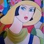 Essai sur papier » la dame au chapeau jaune ». Prost's Art