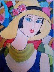 Essai sur papier » la dame au chapeau jaune ».