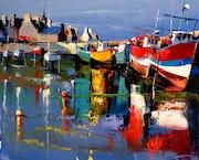 Reflets sur le port de Roscoff.