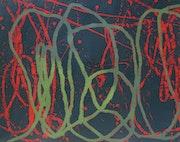 Rote und grüne Linien unter dunklen blau-grün. Sophie De Garam