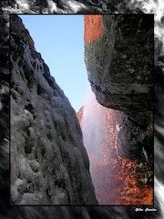 Cascade du Deroc en Aubrac au début de l'hiver.