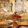 Tonos de marrón collage de prensa temas y la literatura. Katherine Damoy