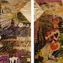 Quadryptique sobre paneles de madera de recuperación, collages y pinturas, de los 70. Katherine Damoy