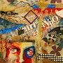 Collage y pintura en la recuperación del panel, la cara roja y azul. Katherine Damoy