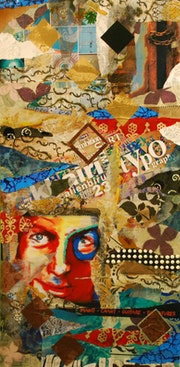 Collage and paint on panel recovery, your face red and blue.