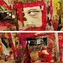 Dípticos en los paneles de reciclaje, en rojo y rosa, una mirada. Katherine Damoy