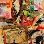 Collage y la pintura del arco iris los cielos panel de Sura. Katherine Damoy