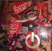 Collage and painting on wood panel, red passion.
