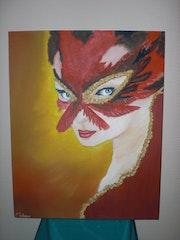 Frau in Maske.