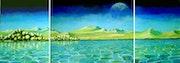 Otros mundos:el lago (Triptico 3 pinturas). Antonio Arrue