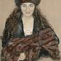 Porträt Mädchen mit Pelzmütze und Pelz Muff. Françoise-Elisabeth Lallemand