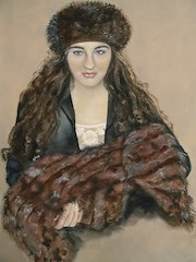 Portrait of Girl with a fur hat and fur muff. Françoise-Elisabeth Lallemand